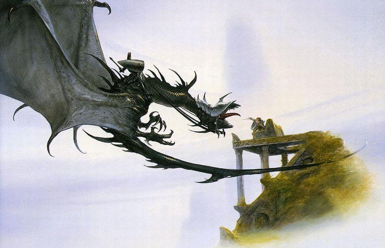 ジョン・ハウ作画による、視る椅子でナズグールと対峙するフロド。トールキンの準備稿に基づく