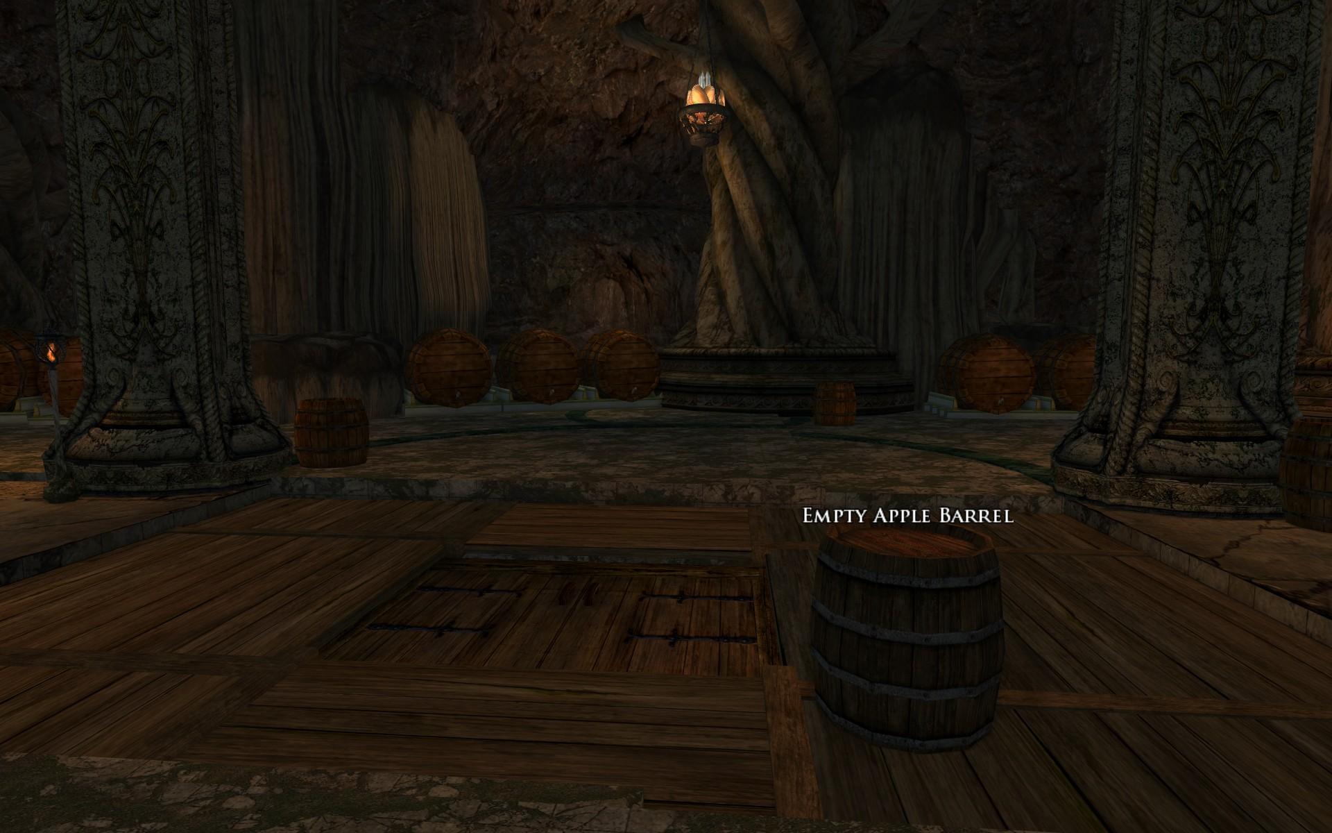 『ロード・オブ・ザ・リングス オンライン』におけるエルフ王の岩屋の、樽を川に流すための落とし戸