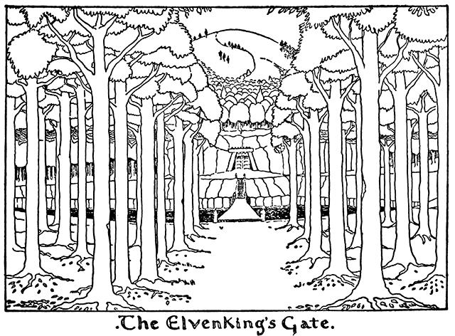 トールキン作画「エルフ王の門」