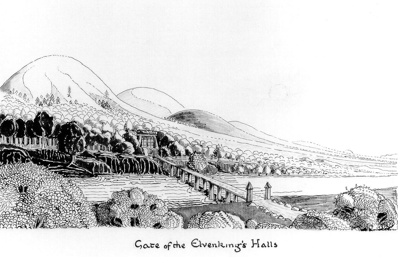 トールキンが描いた「エルフ王の館の門」