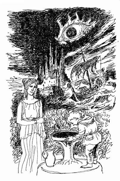 寺島龍一作画によるガラドリエル、フロドと、ガラドリエルの鏡のヴィジョン