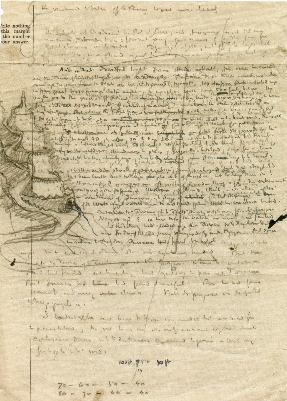 トールキンが草稿に描いた塔(この時点では四段)
