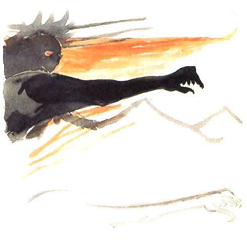トールキン作画によるサウロン(『王の帰還』表紙案)