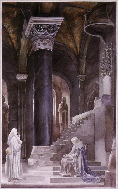 アラン・リー作画による広間のデネソール、ガンダルフ、ピピン
