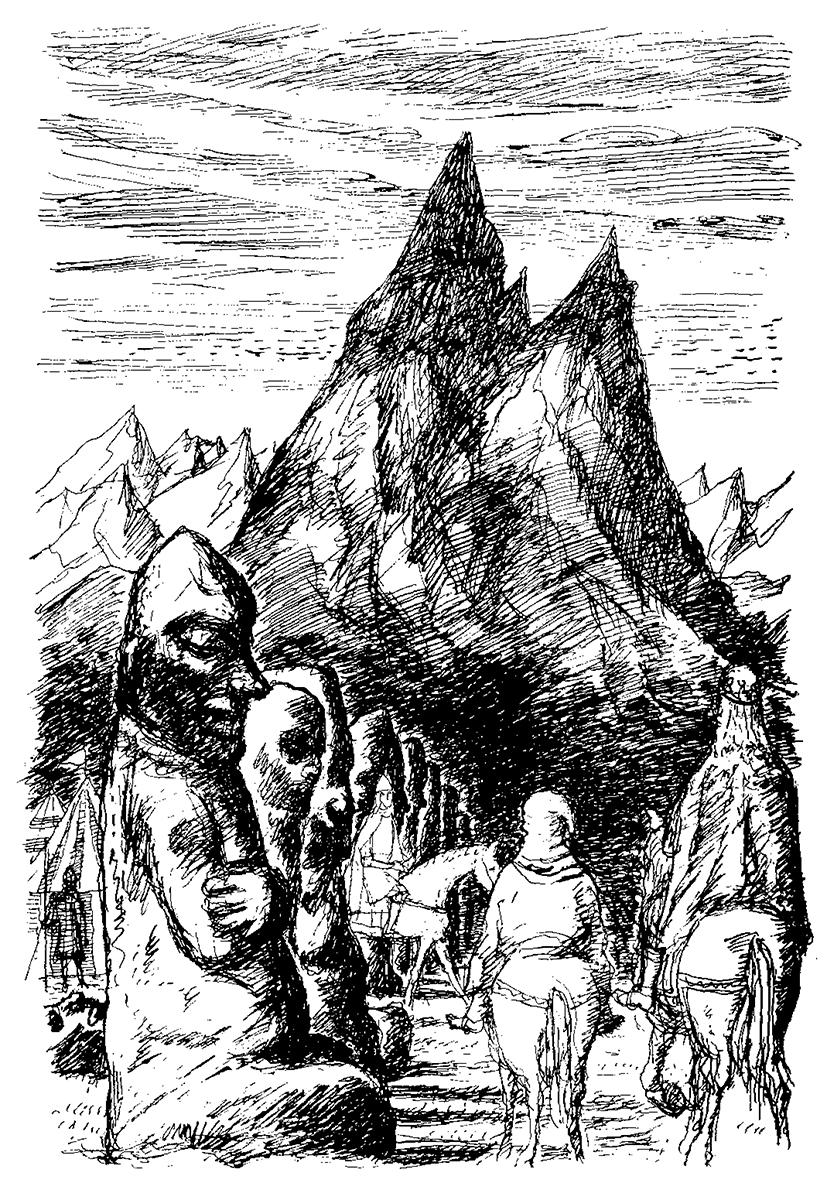 寺島龍一作画による馬鍬砦。左側にプーケル人が見える