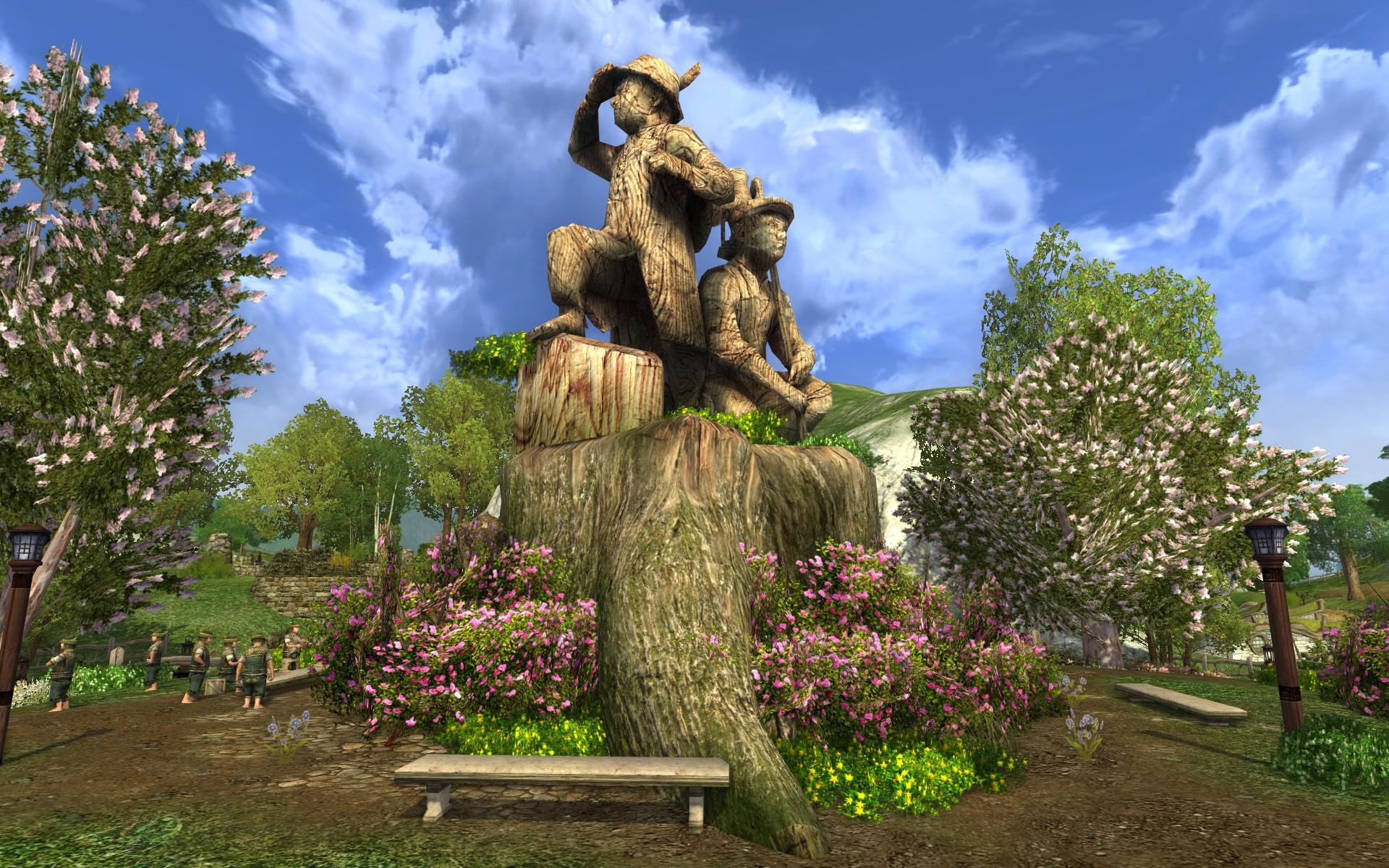 『ロード・オブ・ザ・リングス オンライン』における、大堀町のマルコとブランコの像