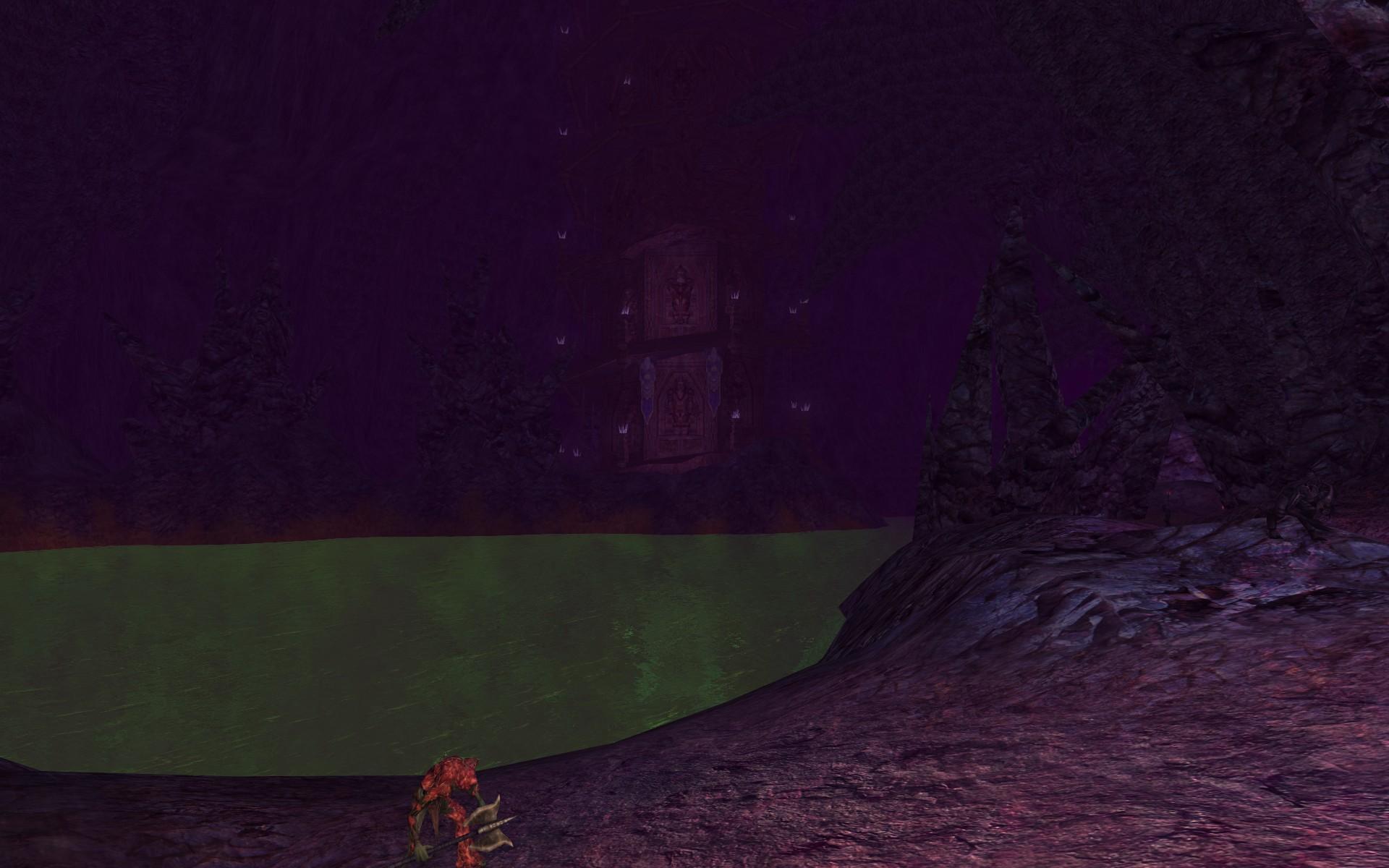 『ロード・オブ・ザ・リングス オンライン』におけるいやはての土の土台(奥に無限階段が見える)