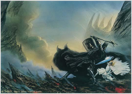 ジョン・ハウ作画によるフィンゴルフィンとモルゴスの一騎打ち