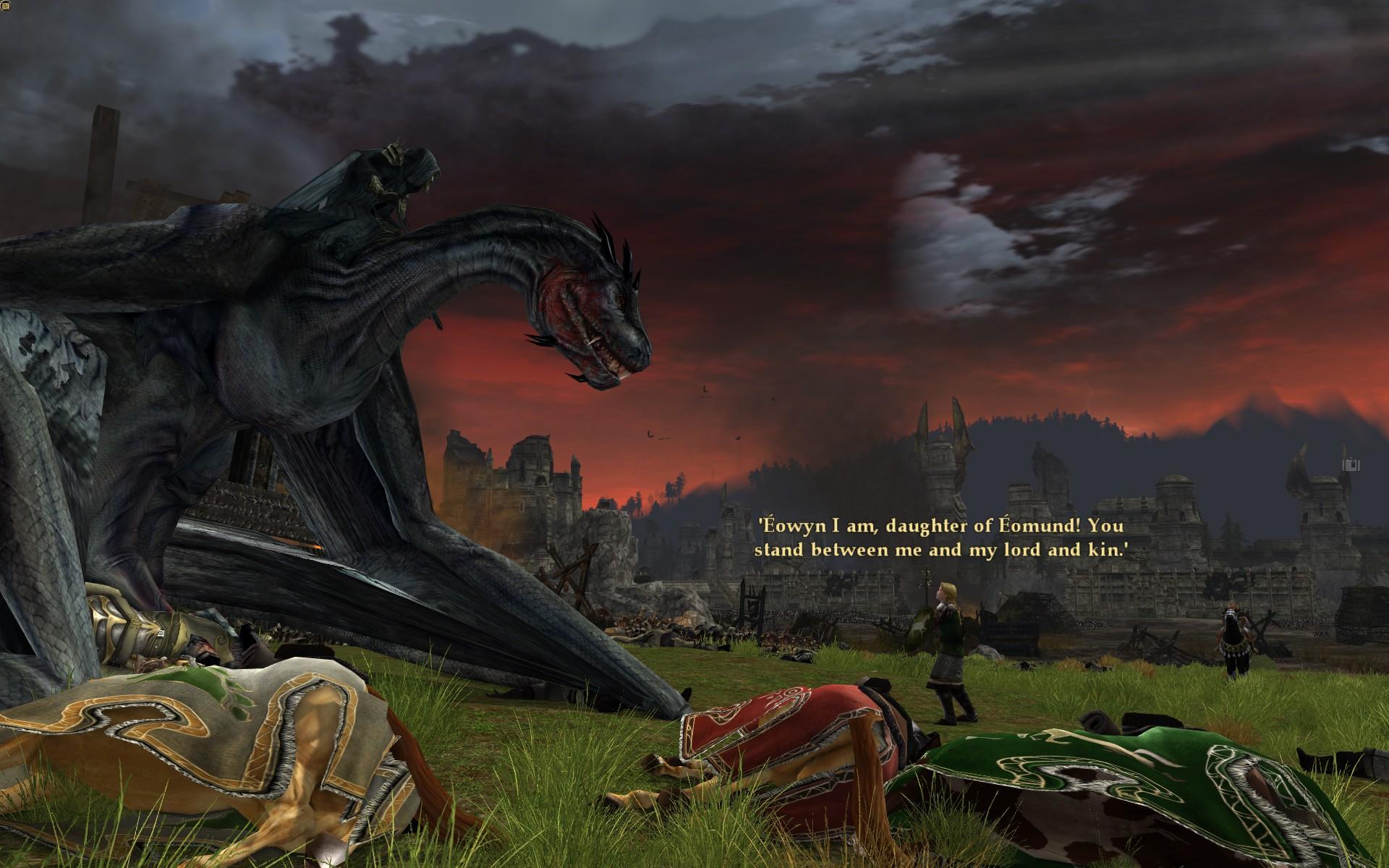 『ロード・オブ・ザ・リングス オンライン』における、ペレンノール野の合戦での恐るべき獣に乗った魔王とエオウィン