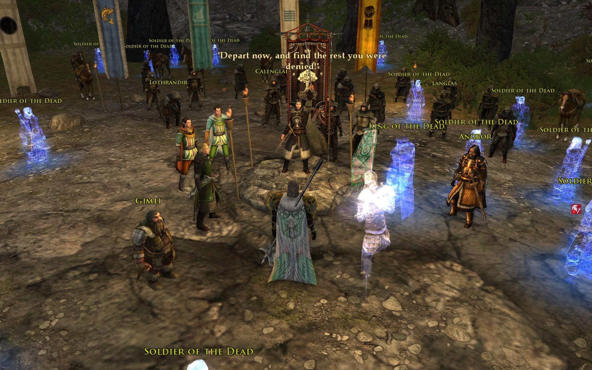 『ロード・オブ・ザ・リングス オンライン』におけるアラゴルン(ペラルギア奪取後、死者の軍勢を解放する場面)
