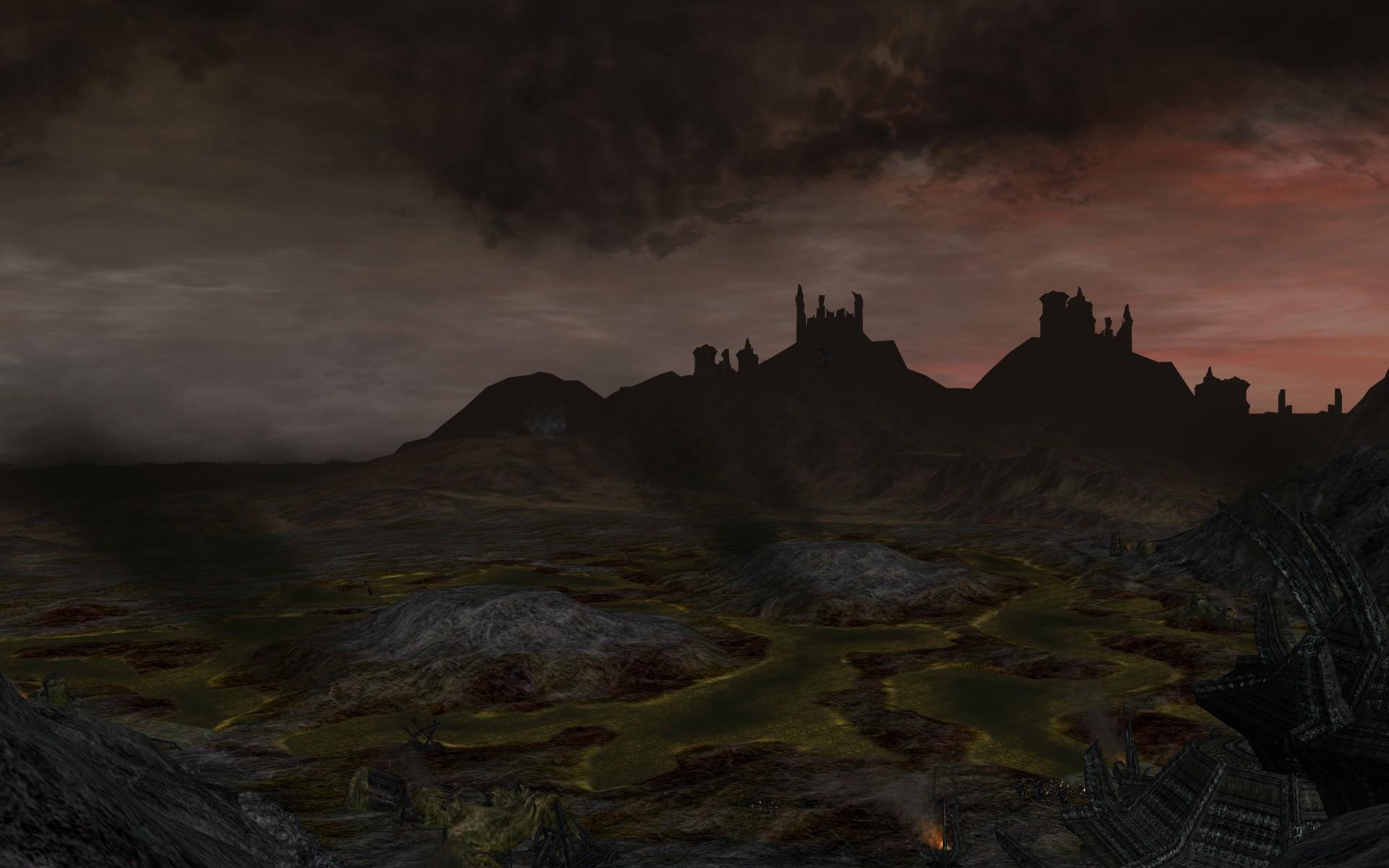 『ロード・オブ・ザ・リングス オンライン』における燃えかすの山(南西上空からの遠景)