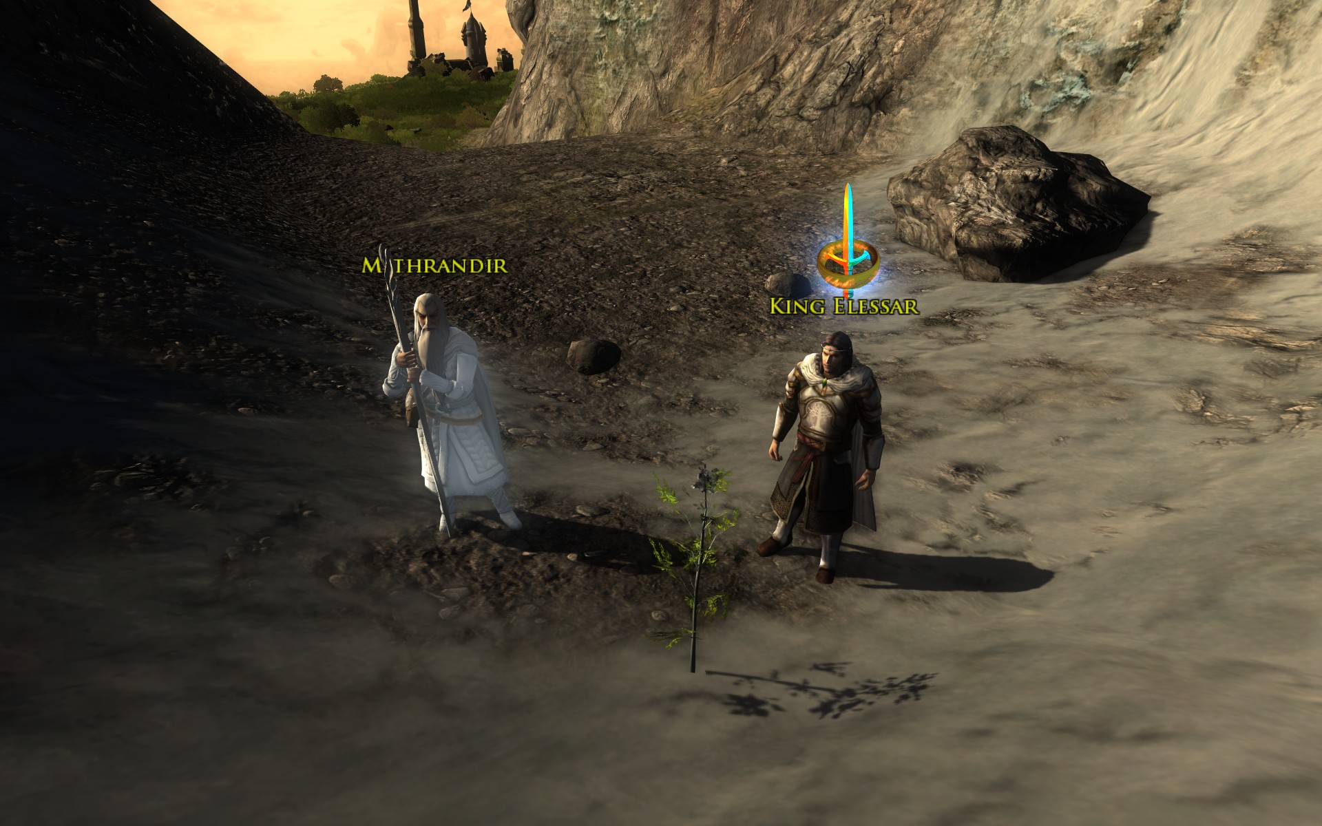 『ロード・オブ・ザ・リングス オンライン』における、エレスサール王が白の木の若木を発見する場面