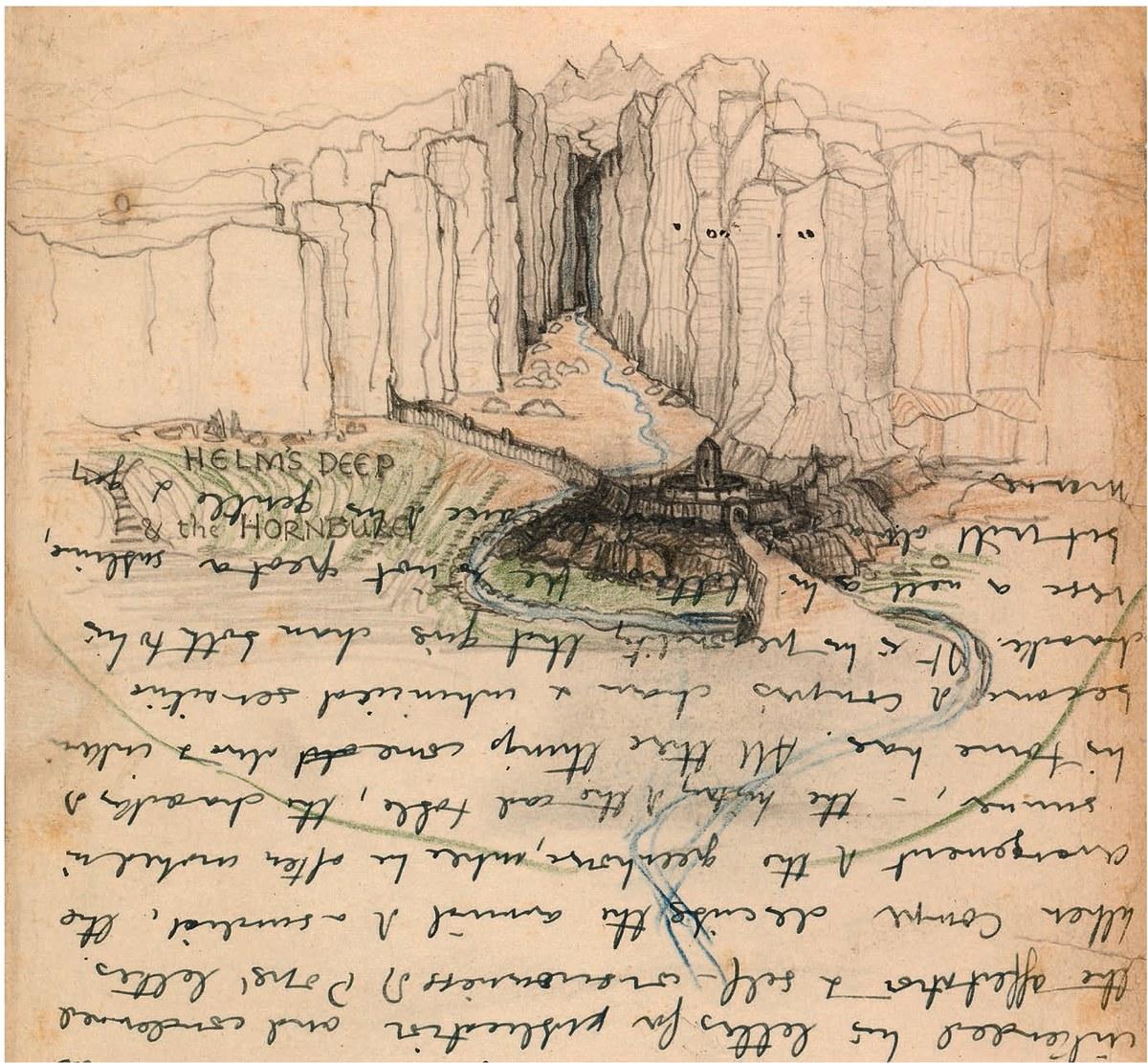 トールキンが草稿に描いた「ヘルム峡谷と角笛城」