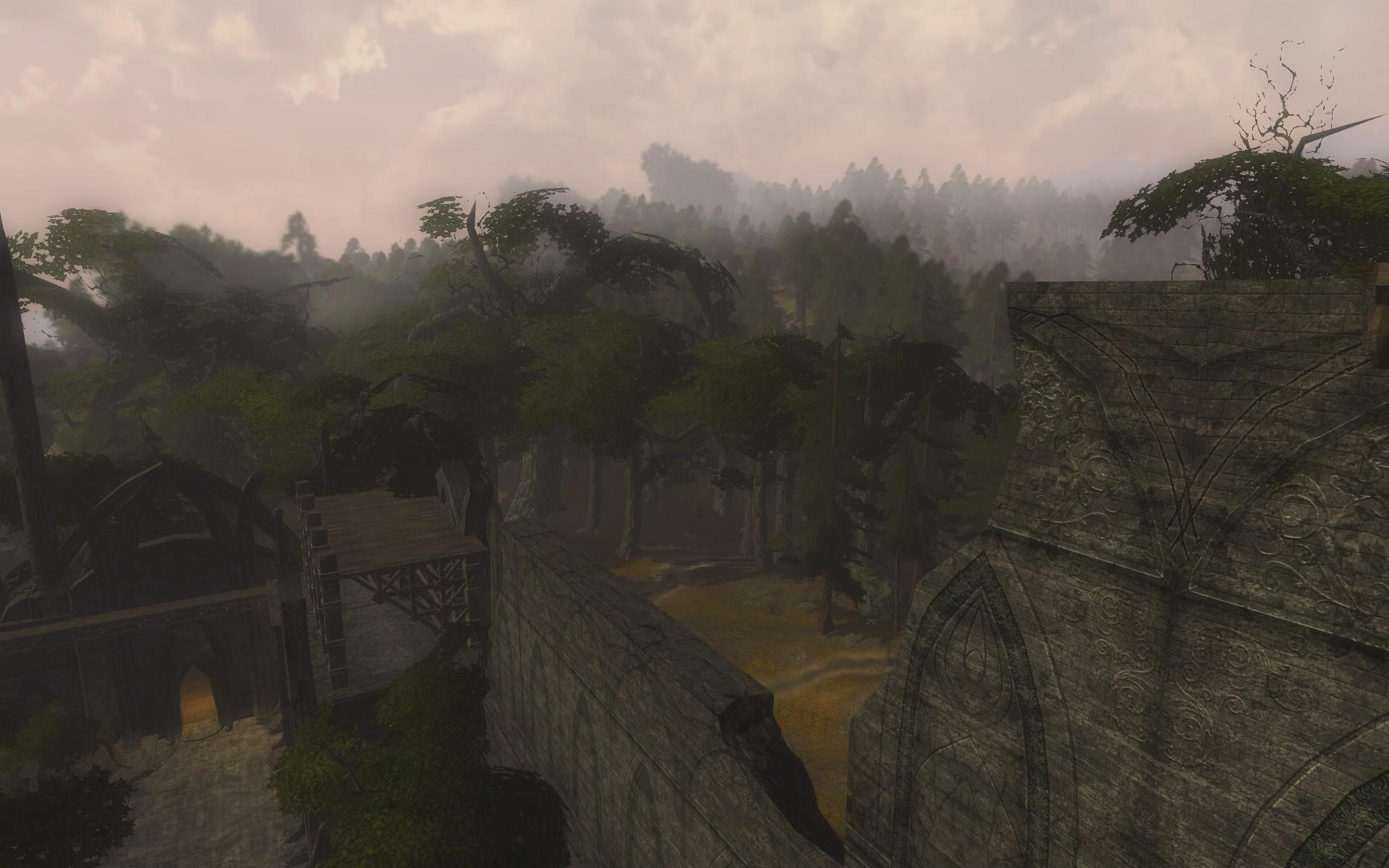 『ロード・オブ・ザ・リングス オンライン』における闇の森の、エルフの拠点となっている廃墟から眺めた光景
