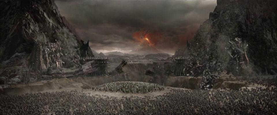 『ロード・オブ・ザ・リング』における、一つの指輪が破壊されて崩壊する黒門
